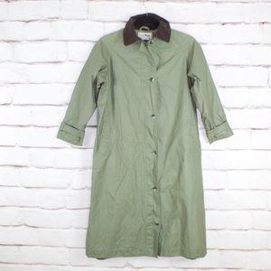 VTG LL Bean Green Trench Coat Long Rain Jacket 12